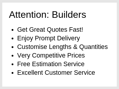 list of benefits showing why perth builders should choose us for their building supplies.