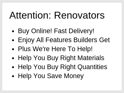 list of benefits showing why perth renovators should choose us for their renovating supplies.